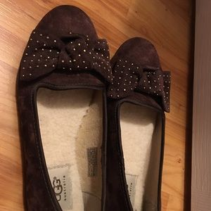 UGG burgundy suede flats with bow.